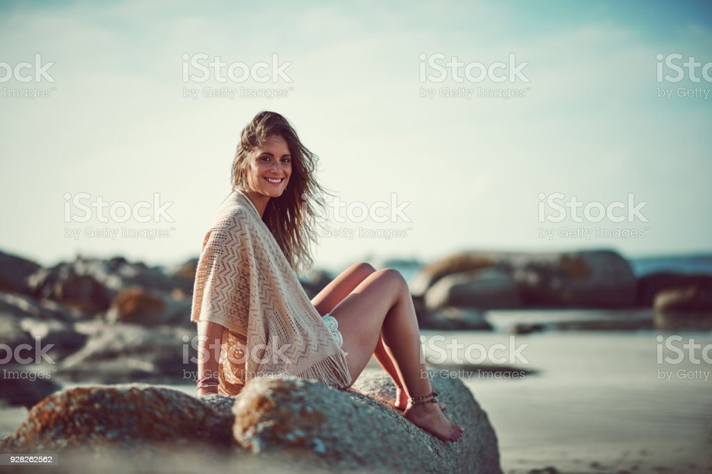 The waves of the sea help me get back to me stock photo