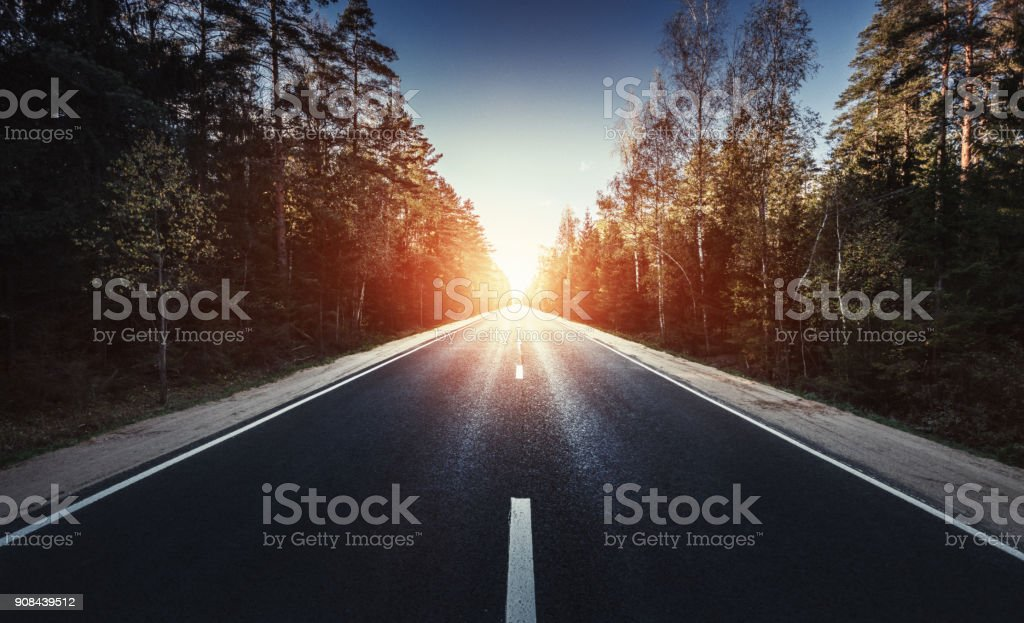 The way forward at sunset stock photo