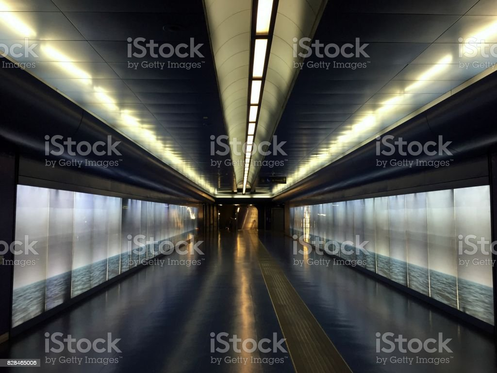 The way forward underground Light and perspective in a subway station Architecture Stock Photo
