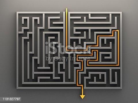 Orange colored path across a maze. ( 3d render )