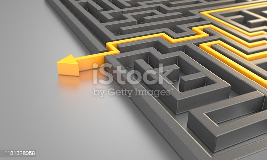 Orange colored path across a maze. ( 3d render )