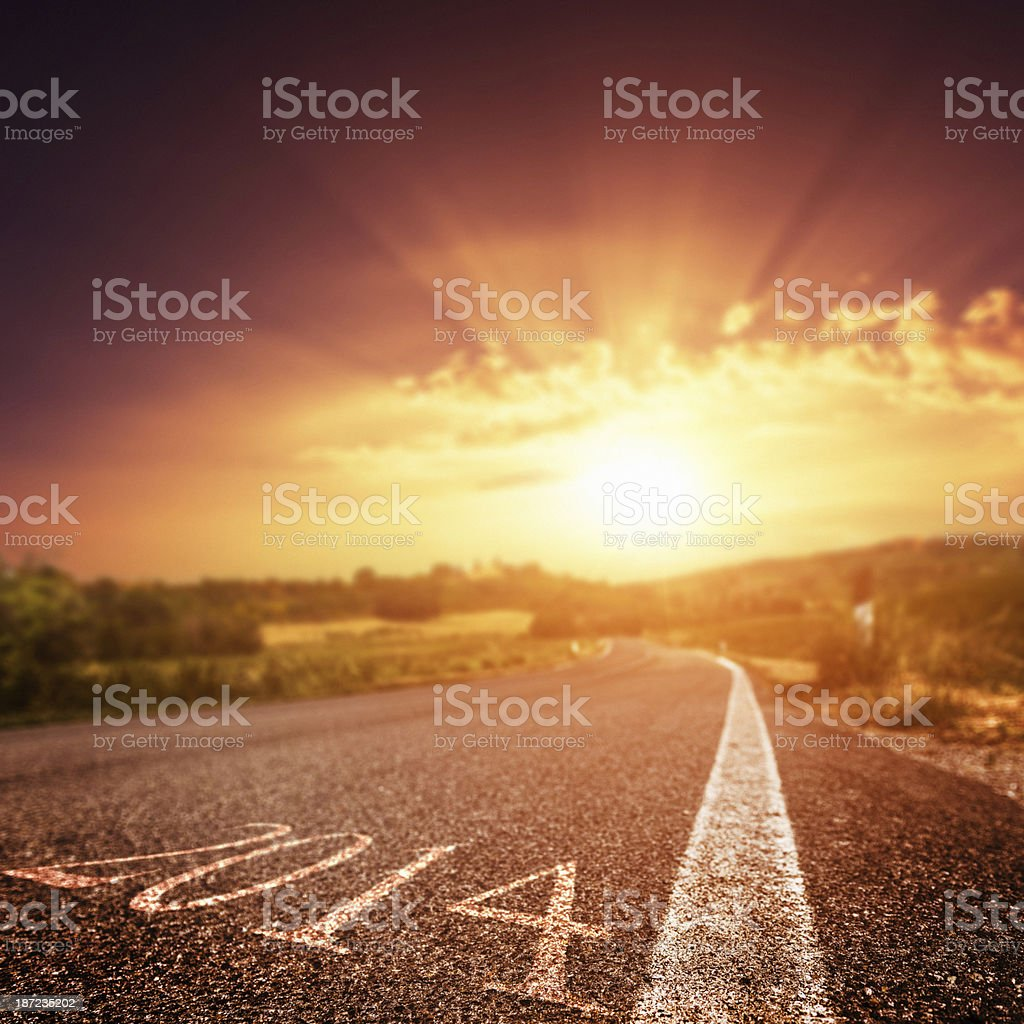The way to new year 2014 royalty-free stock photo