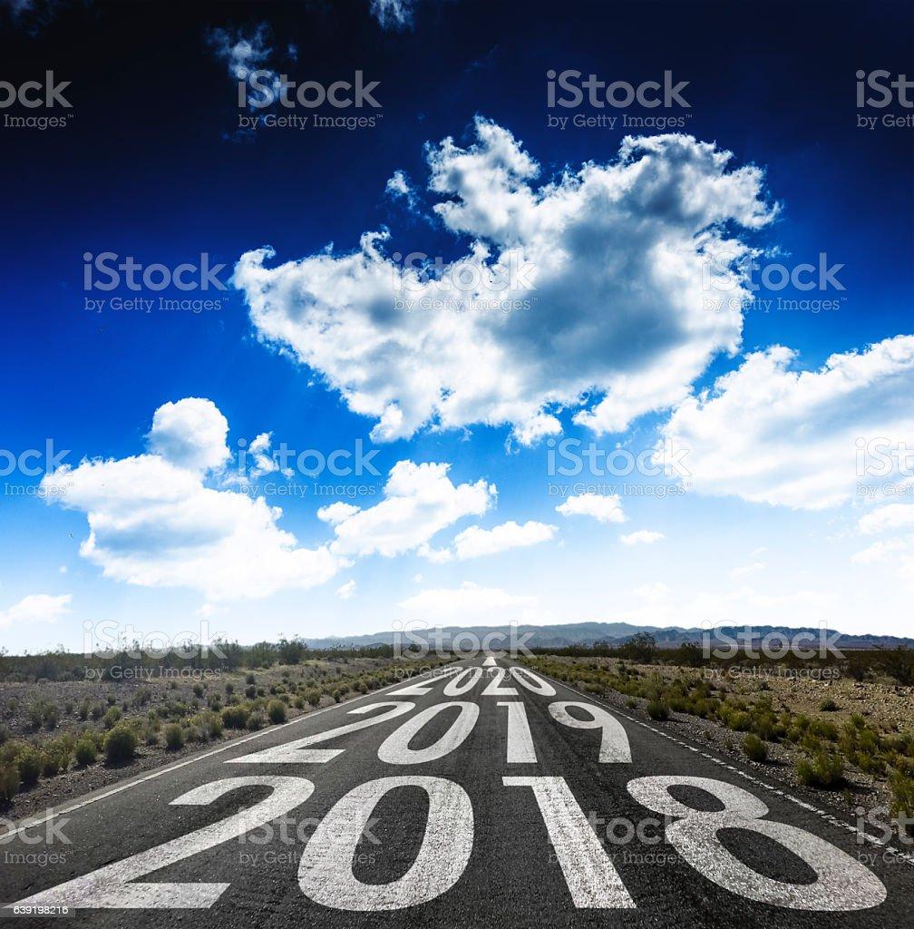 The way to new year 2018 stock photo