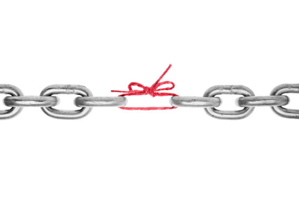 The weak link in the chain stock photo