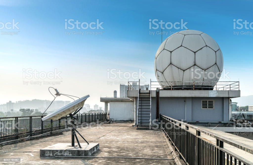 The weather station is on the roof in guangzhou,china stock photo