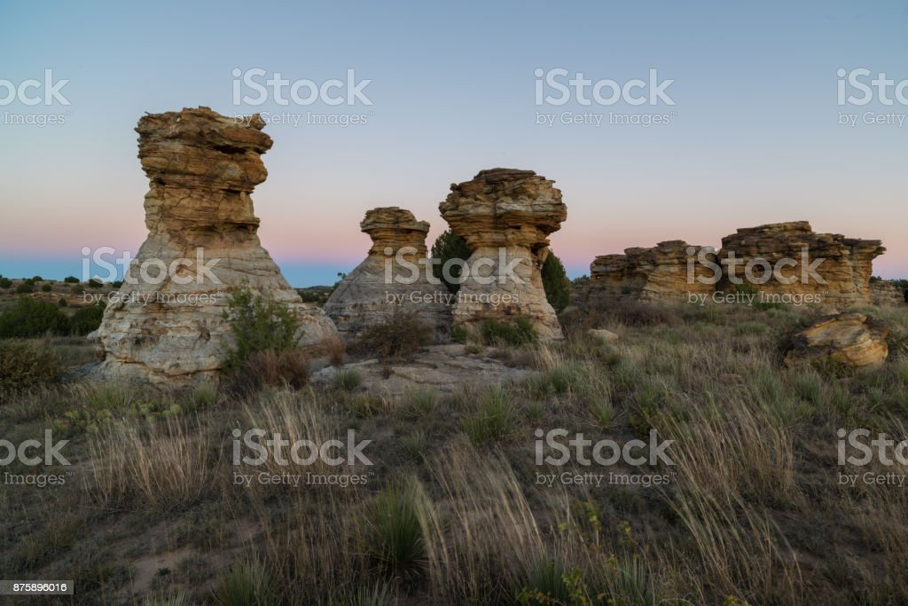 The Wedding Party, Post Sunset, Black Mesa, OK stock photo