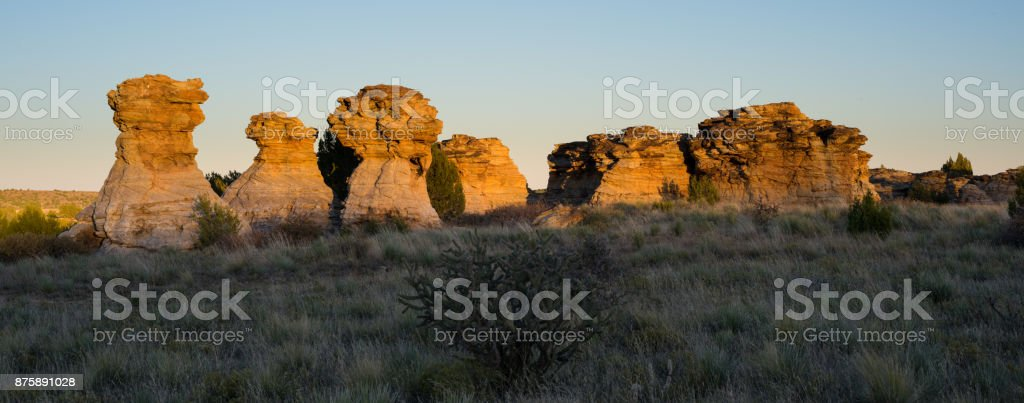 The Wedding Party, Sunset, Panoramic, #4, Black Mesa, OK stock photo