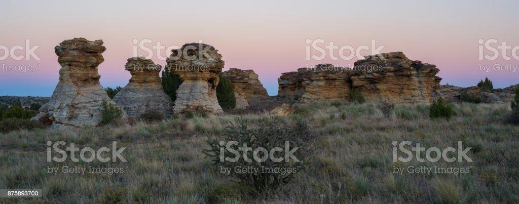 The Wedding Party, Sunset, Panoramic, #7, Black Mesa, OK stock photo