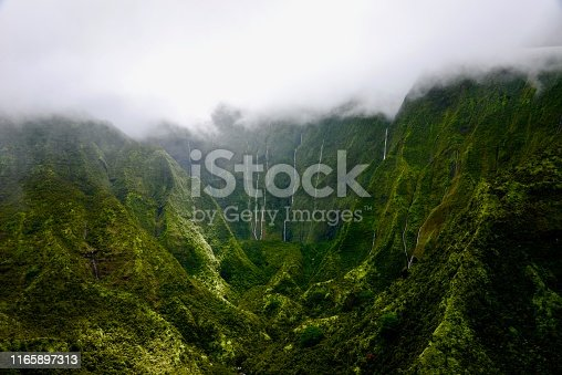 The Heart of Kauai: Mount Waialeale and the Weeping Wall, Hawaii. The wettest place of Earth due to orographic precipitation.