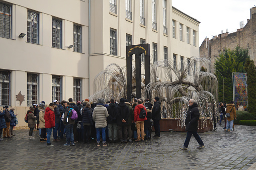 The Weeping Willow Tree In The Courtyard Of Central Synagogue In Budapest  Stock Photo - Download Image Now