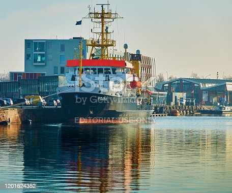 Bremerhaven, Germany, January 16., 2020: The Wega, a research vessel of the German Maritime Authority, for surveying and searching for wrecks in the Bremerhaven harbour basin