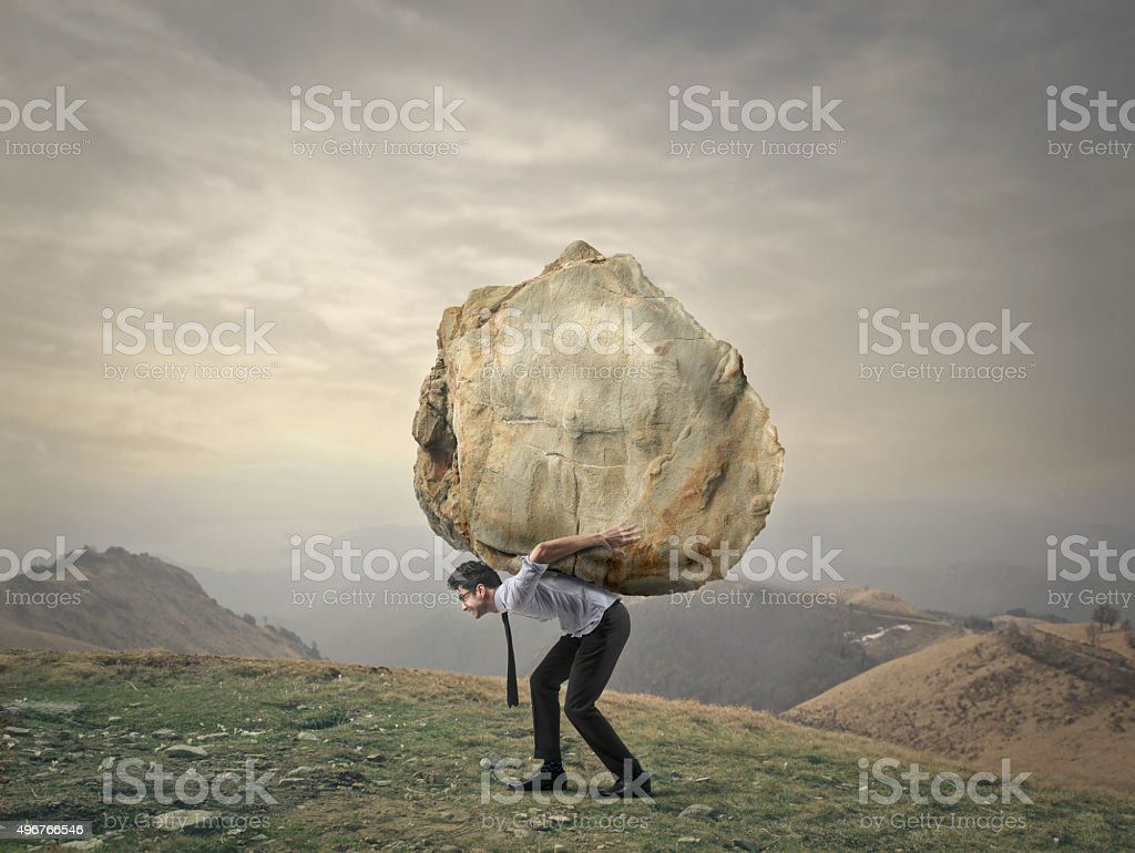 The weight of life stock photo