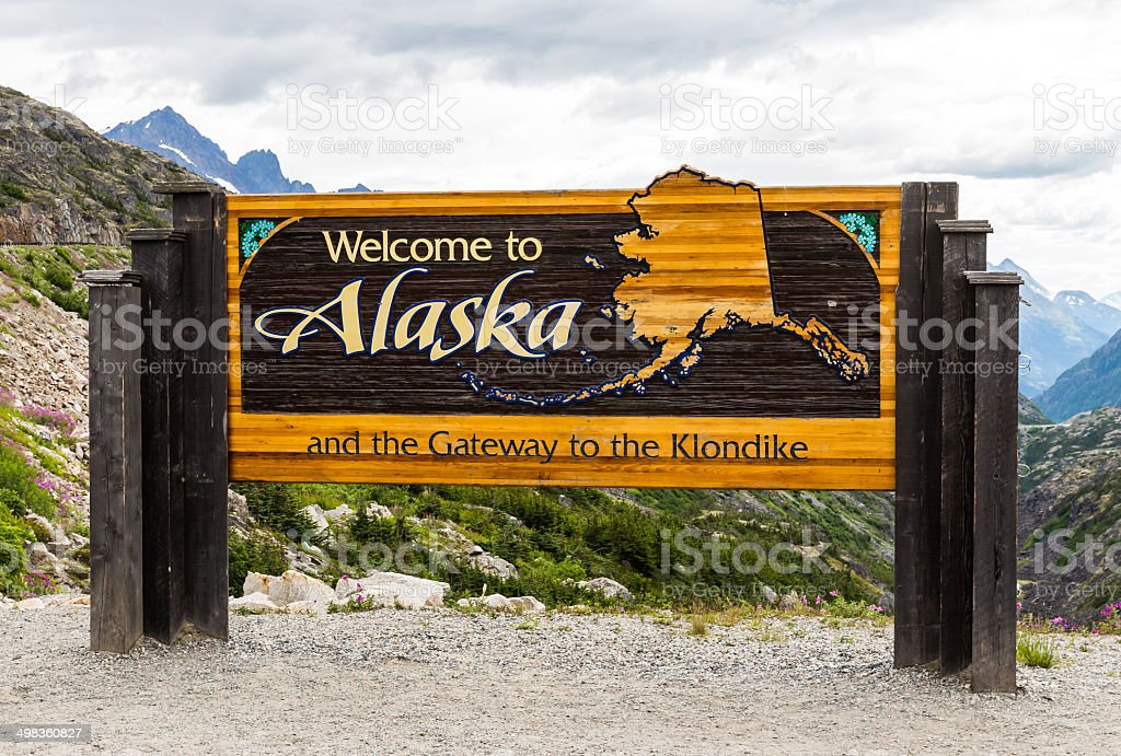 The Welcome to Alaska sign in America stock photo