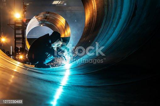 istock The welder is welding steel plates 1272230453