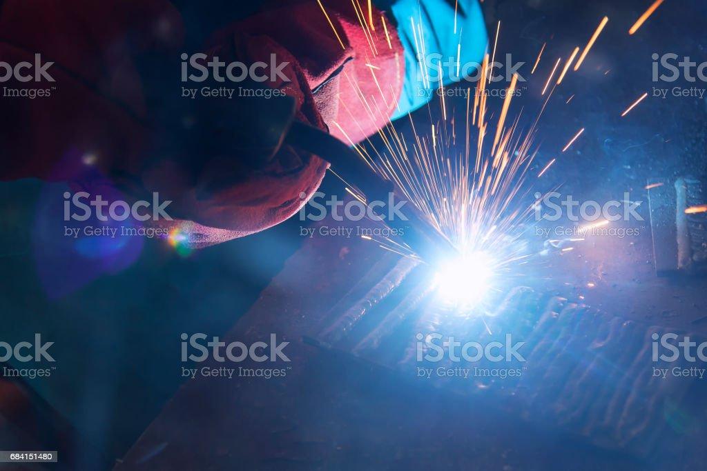 the welding spark light in close-up scene foto de stock libre de derechos