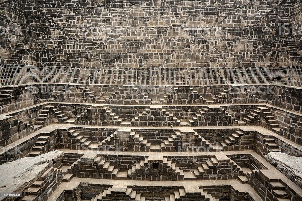 the  well of abhaneri Chand Baori rajasthan dausa india royalty-free stock photo