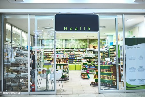 Shot of the entrance to a health store