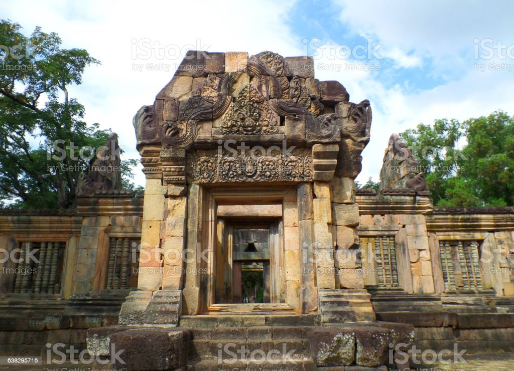 The well-preserved ancient temple complex Prasat Hin Muang Tam, Thailand stock photo
