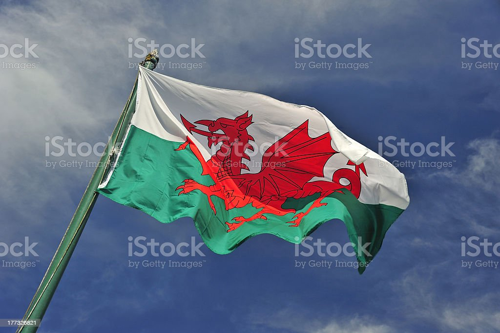 The Welsh flag stock photo