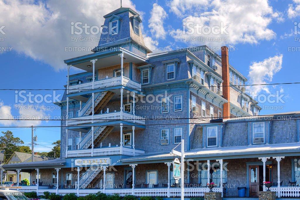 The Wesley Hotel in Oak Bluffs, Martha's Vineyard, Massachusetts, USA. stock photo