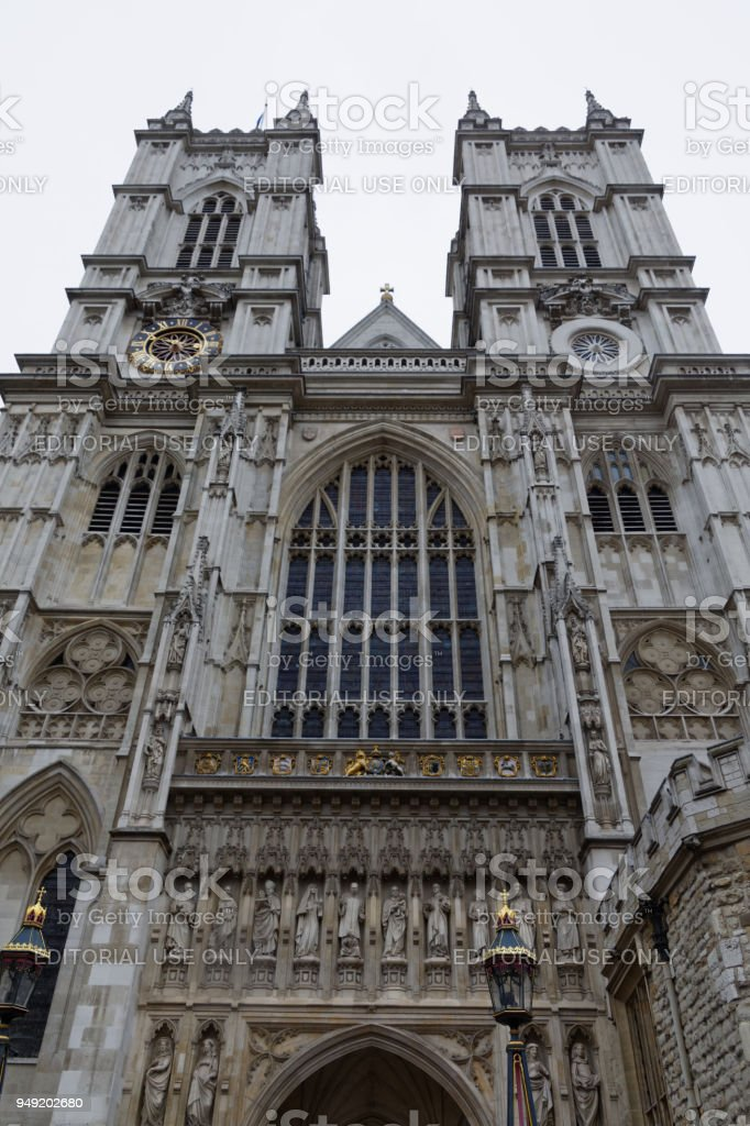 The west facade of Westminster Abbey stock photo