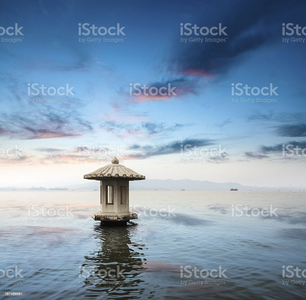 the west lake at dusk royalty-free stock photo