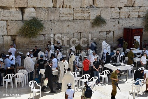 Jerusalem, Israel - September 25, 2017: Unidentified men in praying at the Wailing Wall / Western Wall