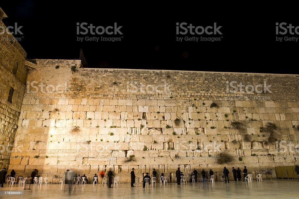 the western wall in jerusalem by night royalty-free stock photo