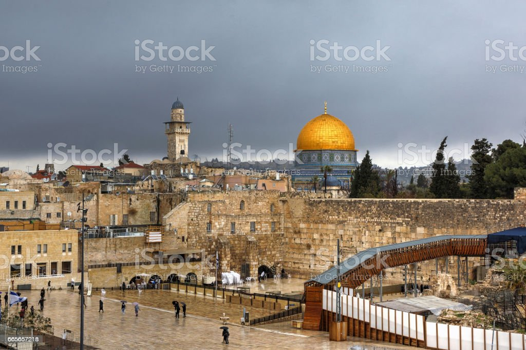 The Western (Wailing) Wall of the Old City of Jerusalem. stock photo