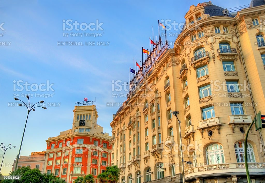 The Westin Palace Hotel on Plaza de Canovas del Castillo stock photo
