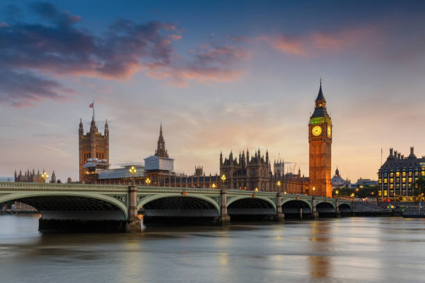 The Westminster Palace and the Big Ben clocktower in London, UK The Westminster Palace and the Big Ben clocktower at the river Thames in London, UK, just after sunset city of westminster london stock pictures, royalty-free photos & images