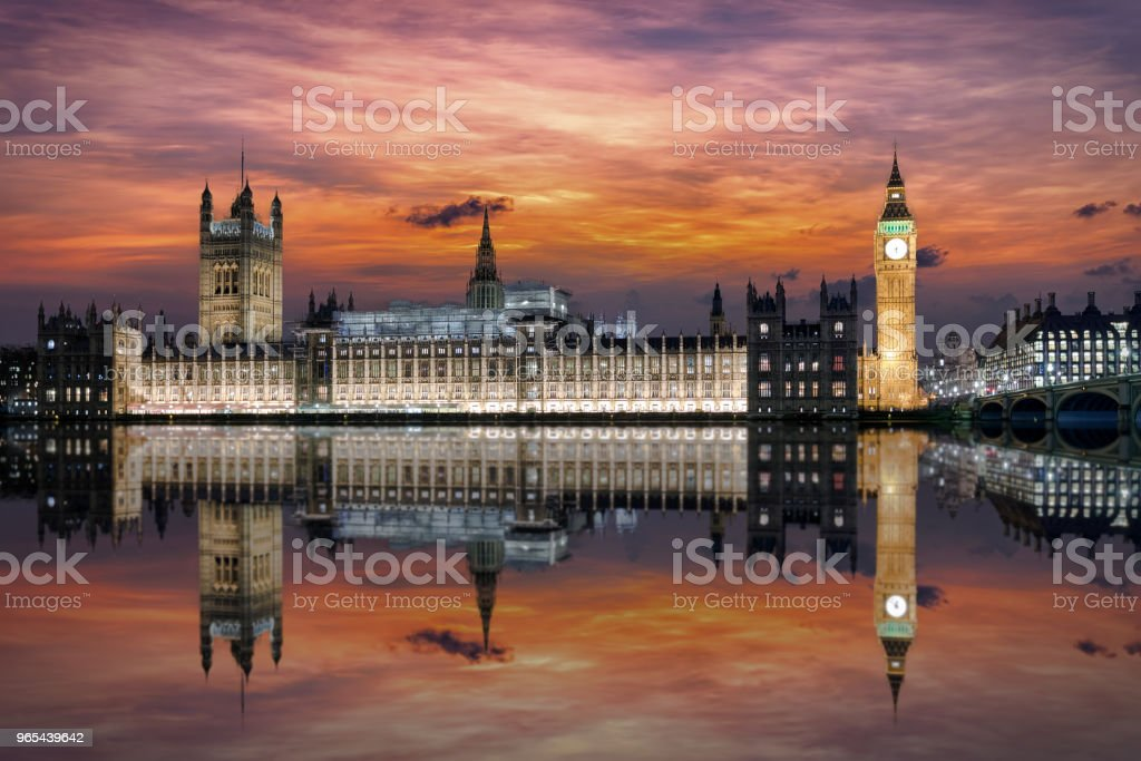 The Westminster Palace in the Big Ben clocktower on the river Thames in London royalty-free stock photo