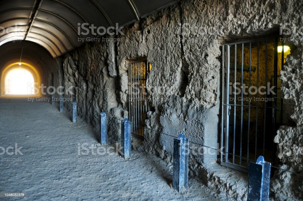 The Whaler's Tunnel of Round House Prison at Fremantle  port city in Perth, Australia stock photo