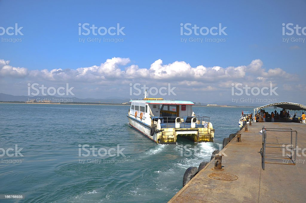 The wharf of Wuzhizhou Island in Sanya royalty-free stock photo