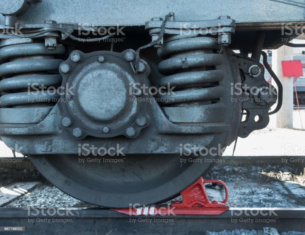 the wheel train car closeup stock photo