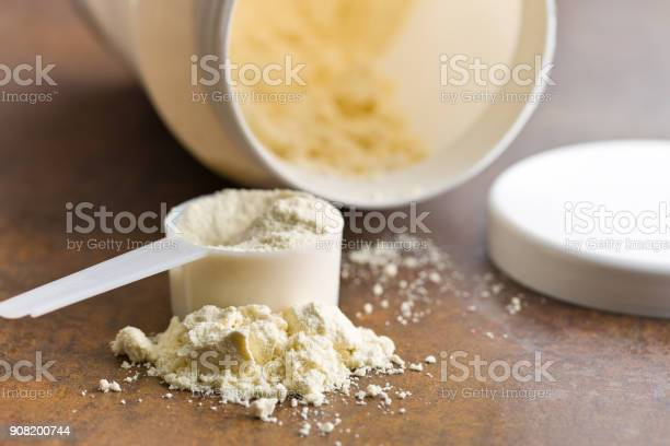 The Whey Protein In Scoop Stock Photo - Download Image Now