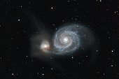 The Whirlpool Galaxy from my backyard. Also known as Messier 51a, M51a, and NGC 5194, is an interacting grand-design spiral galaxy.