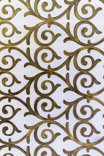 the white and gold wall decoration - filigree stock photos and pictures