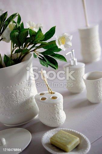 847096968 istock photo The white bathroom accesories set 1216476894