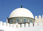 The white dome of the mosque in Kairouan. Tunisia