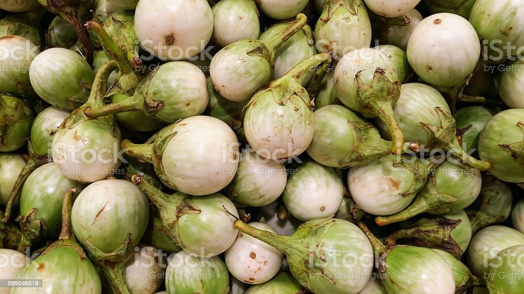 the white eggplants on shelf for sell in supermarket stock photo