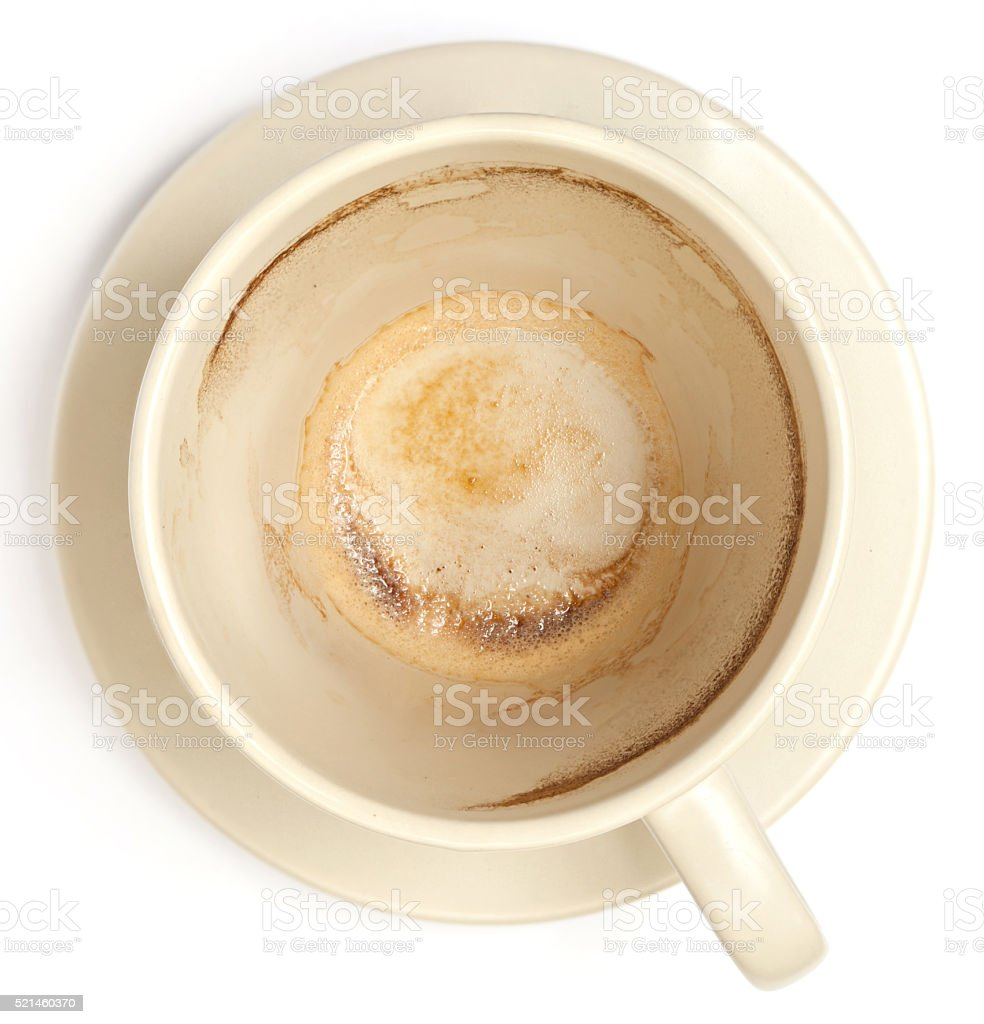 The white empty coffee cup with stained inside. stock photo
