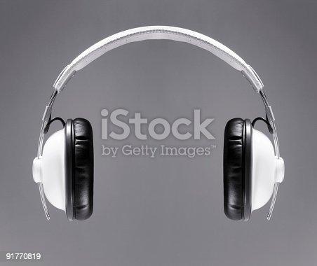 istock The white headphones 91770819