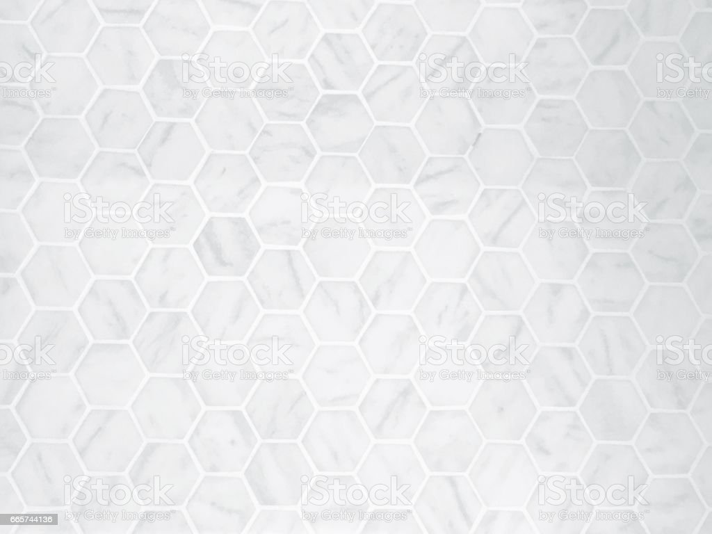 The White Hexagon Marble Tile Texture Background stock photo