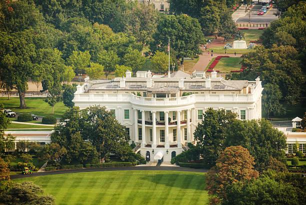 The White Hiuse aerial view in Washington, DC stock photo