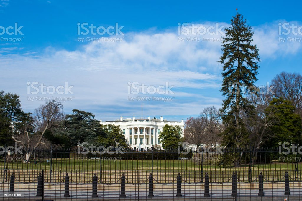 The White House and fence in Washington DC stock photo