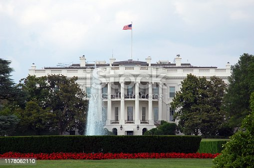 The White House and fountain in the front.