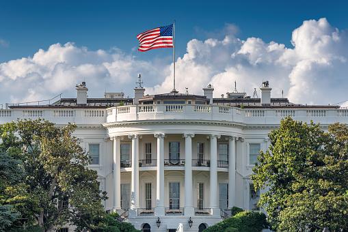 The White House in Washington DC at summer day. The White House is home of the President of the United States of America, Washington DC, USA.