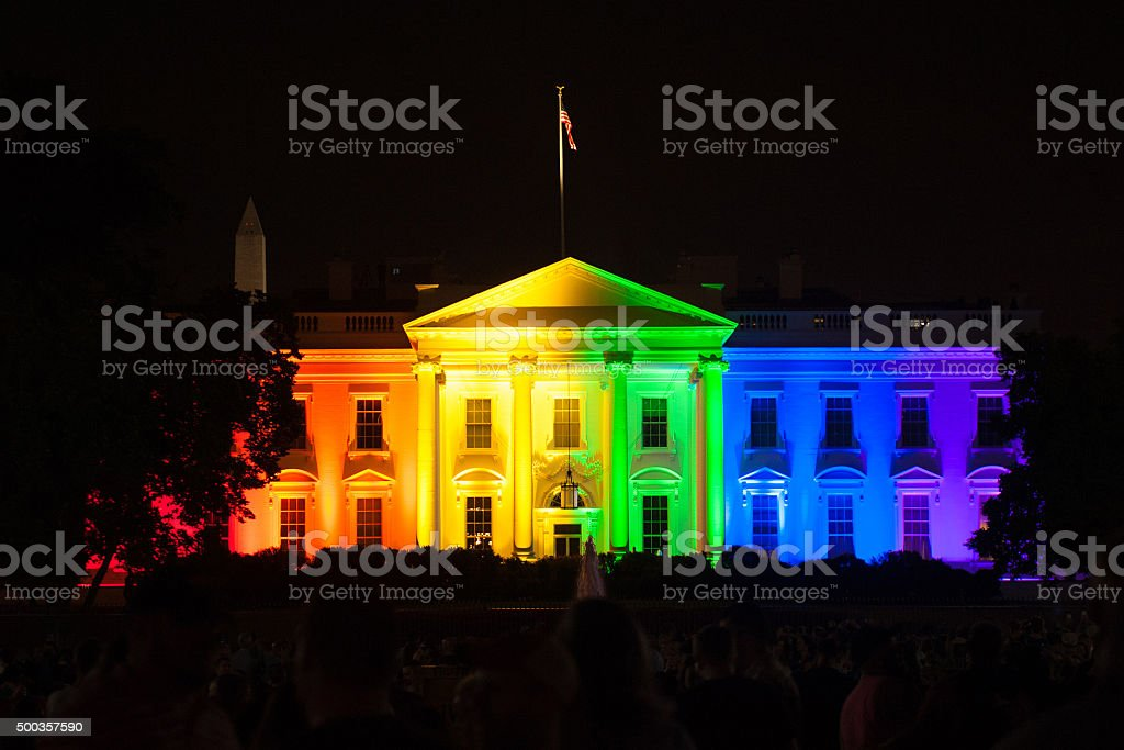 The White House Lit in Rainbow Colors stock photo