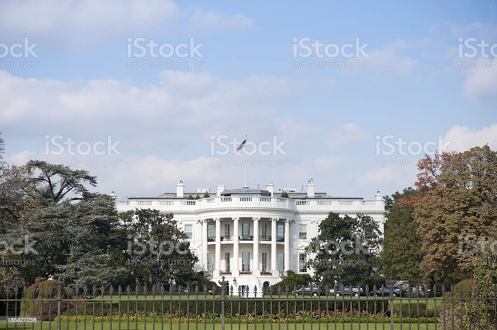 The White House South Lawn, Washington DC stock photo